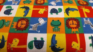 Flannel Fabric Multi Animals in Patchwork - Christina's Fabrics Online Superstore