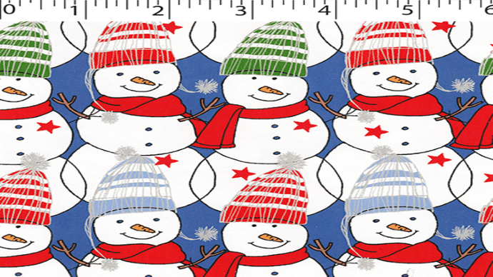 Flannel Fabric In Blue - Snowmen - Christina's Fabrics Online Superstore