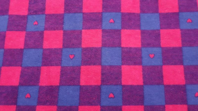 Flannel Fabric In Pink Plaid With Hearts - Christina's Fabrics Online Superstore