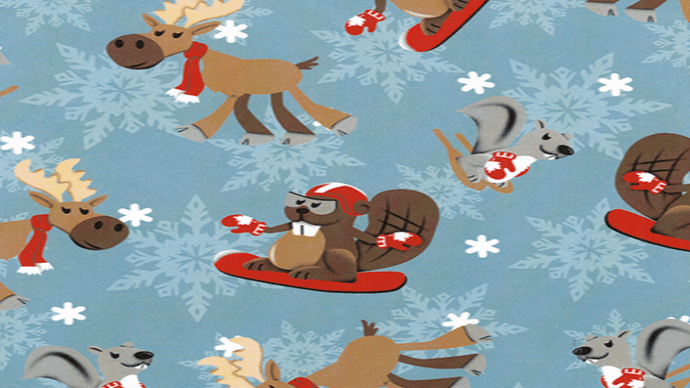 Flannel Snowboarding Animated Beavers and Reindeer - Christina's Fabrics - Online Superstore