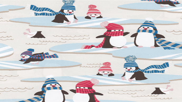 Flannel Fabric,  Penguins wearing hats and scarfs In A Winter Scene - Christina's Fabrics Online Superstore
