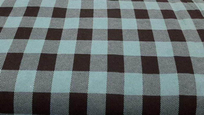 Flannel Fabric In Teal Buffalo Plaid - Christina's Fabrics Online Superstore