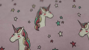 Flannelette Fabric In Pink Unicorn With Lilac Background - Christina's Fabrics Online Superstore