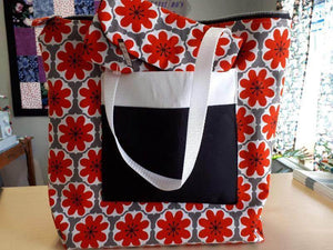 Handmade Tote Bag In Grey and Red Floral  - Christina's Fabrics - Online Superstore