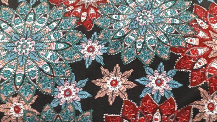 Knit Fabric In Black Multi Color Floral - Christina's Fabrics Online Superstore