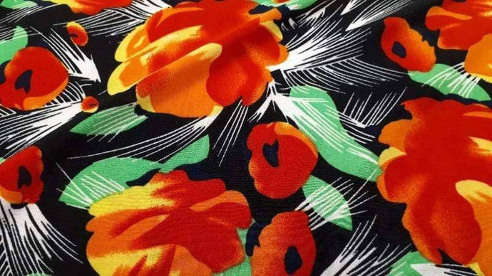 Knit Fabric In Black & Orange Floral - Christina's Fabrics - Christina's Fabrics | Online Superstore | Quality Fabrics | Great Prices
