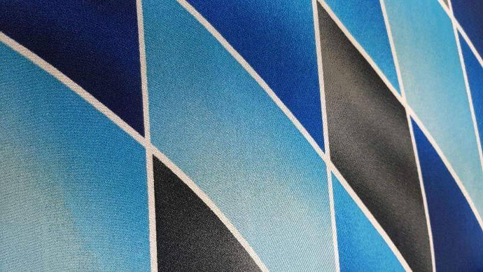 Polyester Knit Fabric In Blue/black/ Striped Print - Christina's Fabrics - Online Superstore