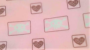 Flannel Fabric In Pink with Hearts and Skulls - Christina's Fabrics Online Superstore