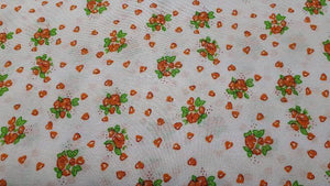 Polyester Fabric In White and Orange Floral - Christina's Fabrics - Online Superstore