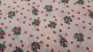 Polyester Fabric In Light Pink and Green Floral - Christina's Fabrics - Online Superstore