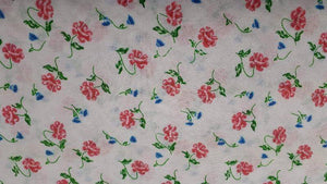 Polyester Fabric In White and Red Floral- Christina's Fabrics - Online Superstore