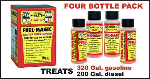 Fuel Magic - Box of FOUR 2 oz. squirt bottles of Super Concentrated Fuel Magic