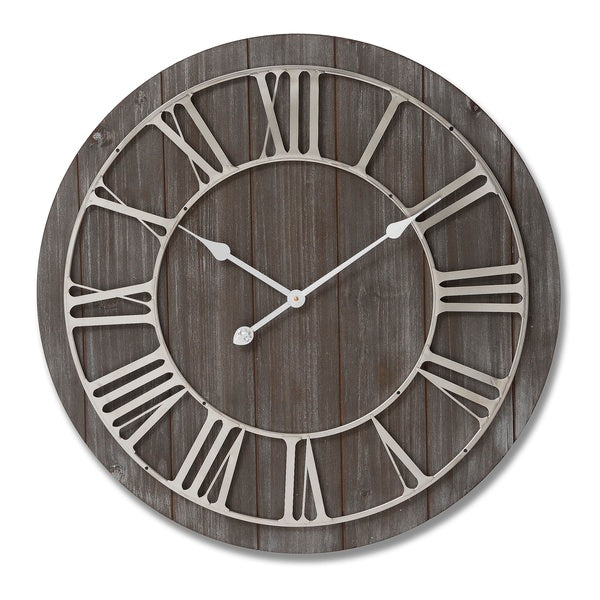 Wooden Clock with Nickel Skeleton