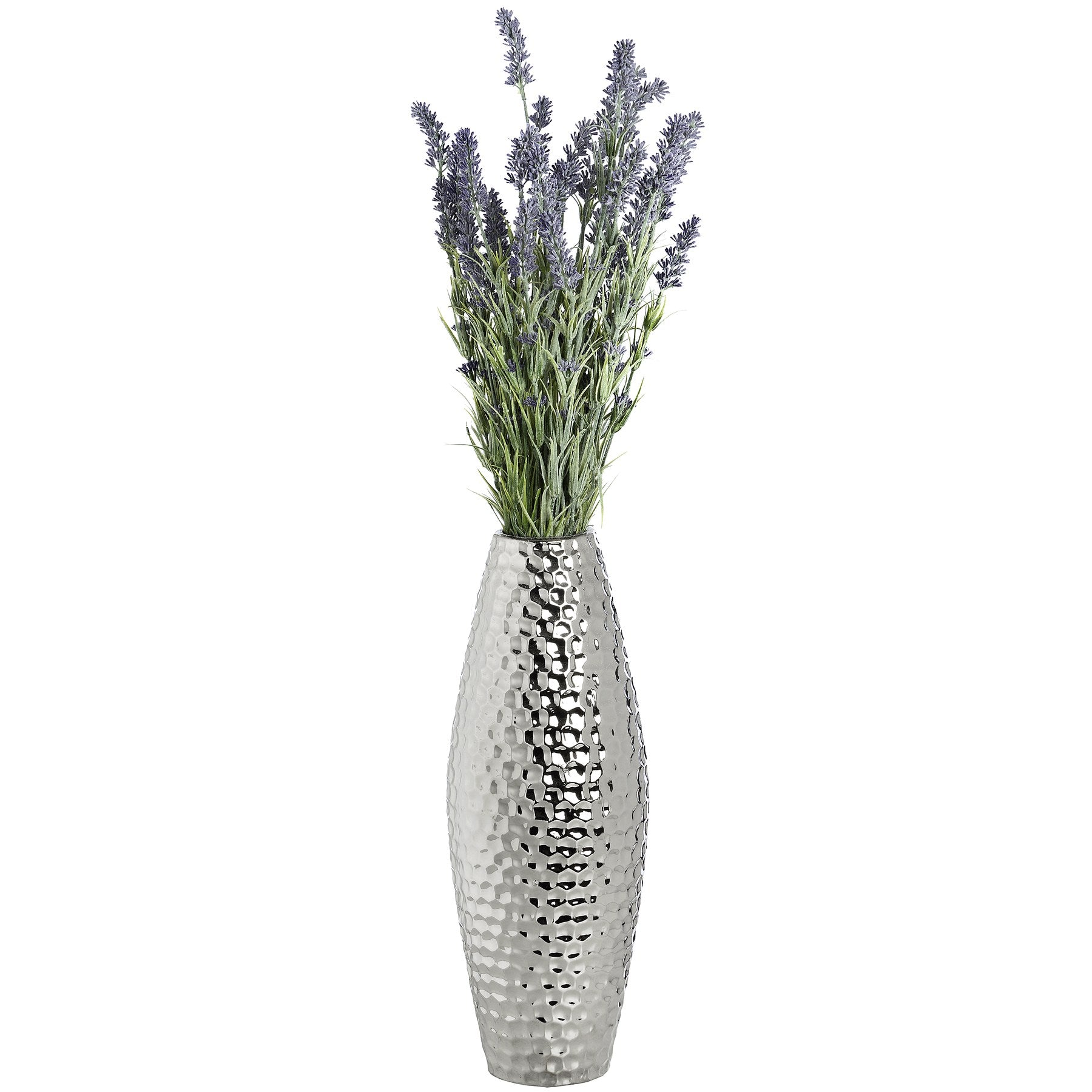 Large Silver Ceramic Vase in Dimple Effect