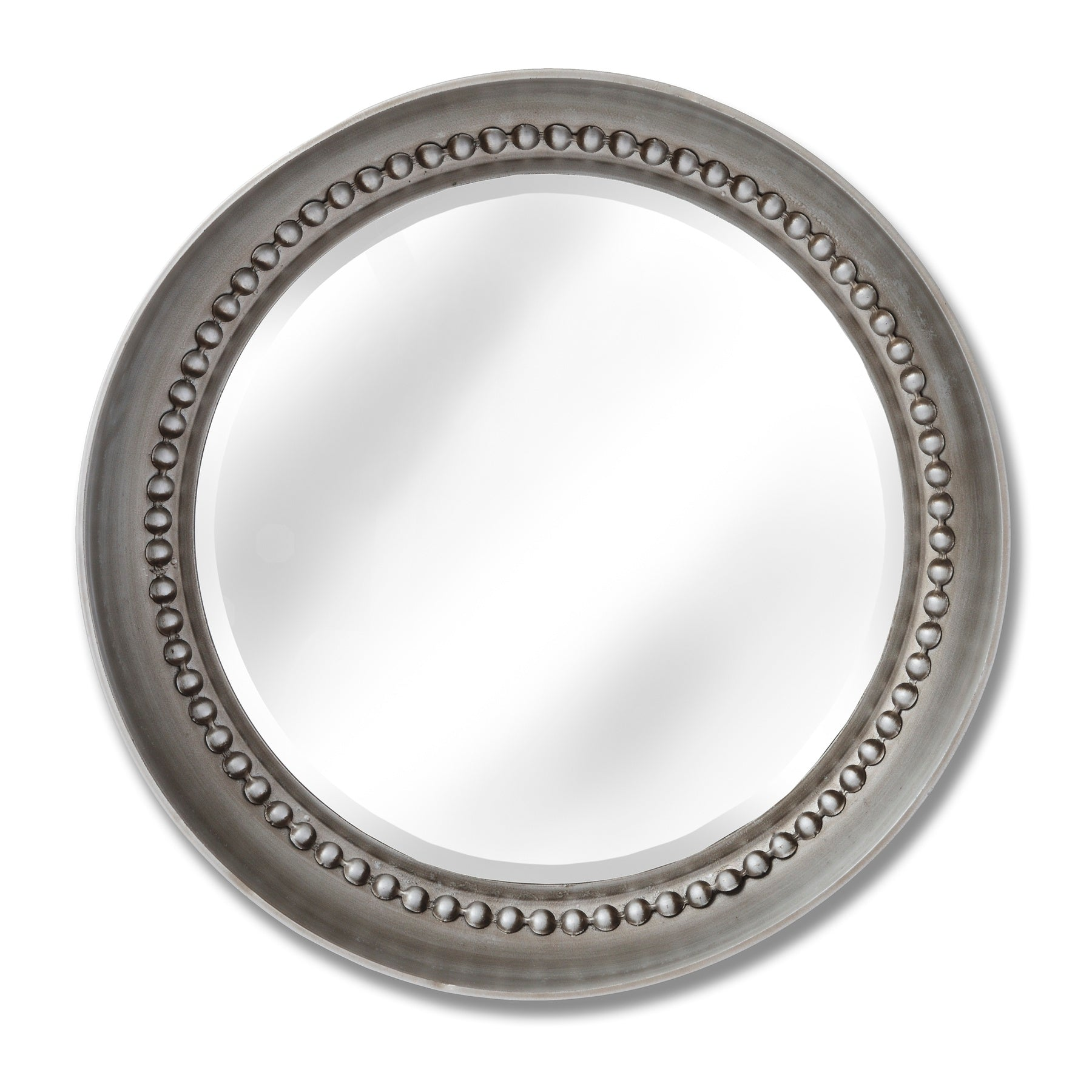 Large Silver Beaded Mirror Wall Dish