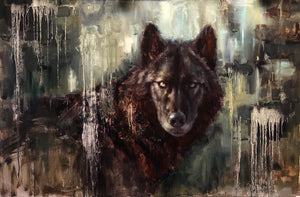 Black wolf In Contemporary - 24x36