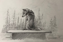 Load image into Gallery viewer, Sled Dog on dog house - 8x12