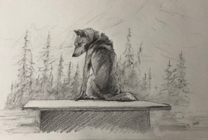 Sled Dog on dog house - 8x12