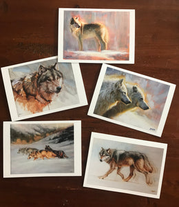 Boxe of 5 wolves cards