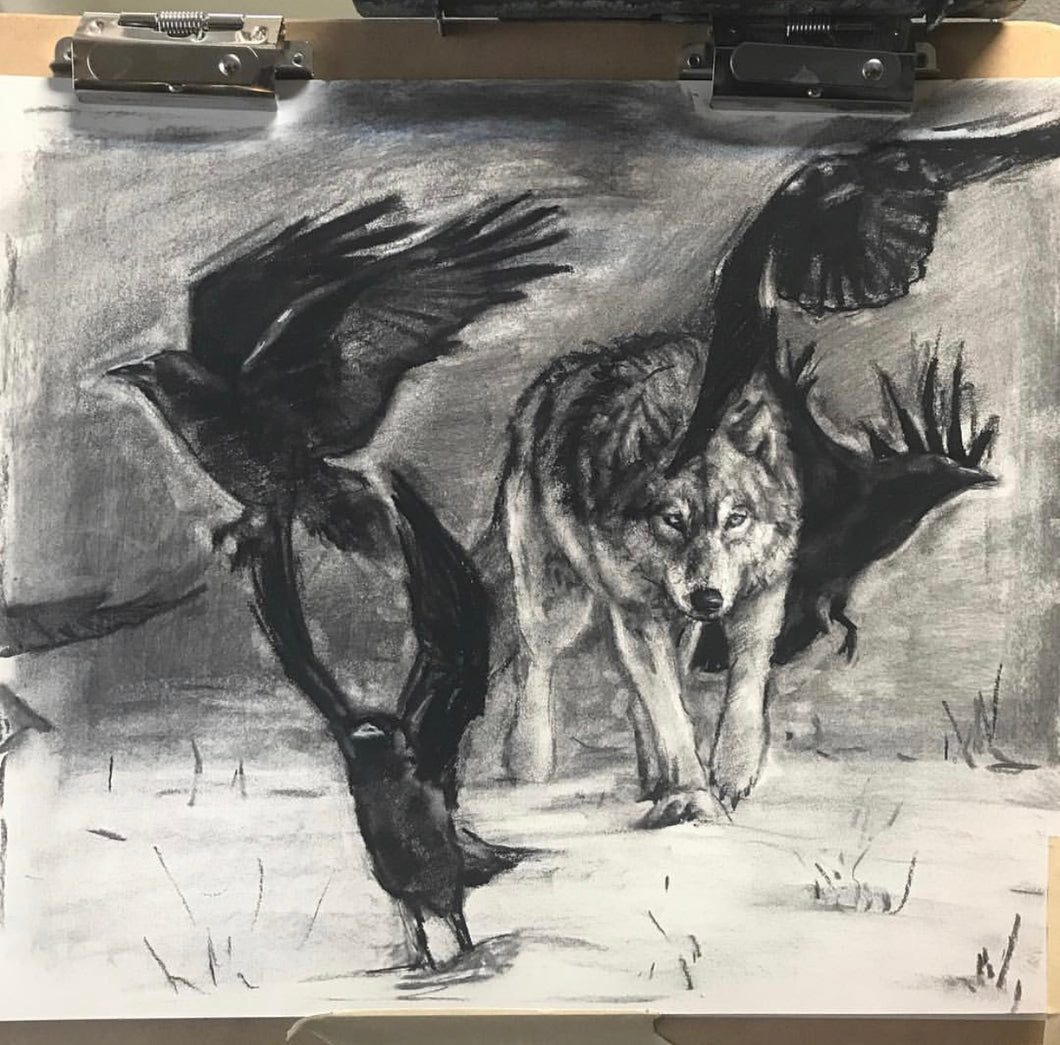wolf and raven charcoal drawing - 14x18