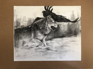 Charcoal drawing wolf and raven - 14x18
