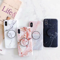 Marble Iphone Cases With  Grip Stand Holder