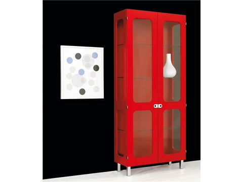 2K-SKÅP Cabinet with Glass Doors & Sides, 4 Shelves by Karl Andersson & Söner