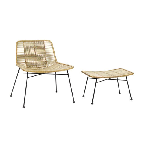 Rattan Lounge Chair w/ Stool by Hübsch
