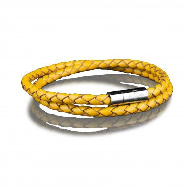 Leather Bracelet - Two Rows 4mm Gold by Skultuna