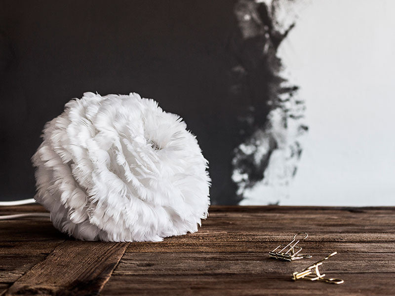 Eos White Feather Table Lamp by UMAGE