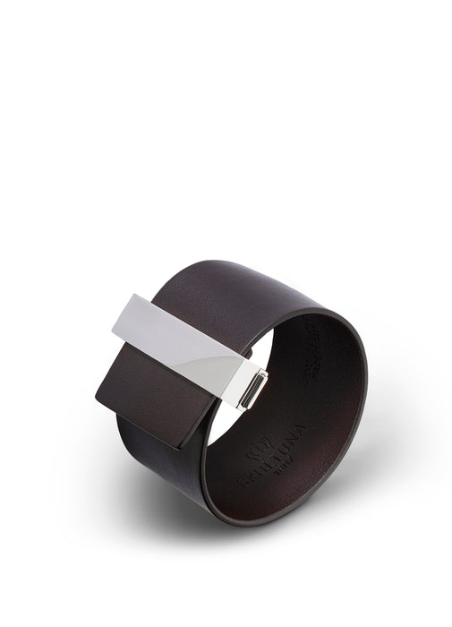 Clasp Leather Bracelet Wide by Skultuna