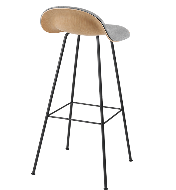 3D Wood Counter Stool w/ Center Base Front Upholstered by Gubi