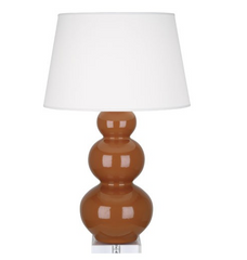 Triple Gourd Table Lamp Lucite base by Robert Abbey