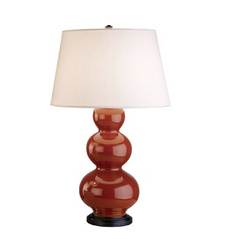 Triple Gourd Table Lamp Deep Patina Bronze base by Robert Abbey