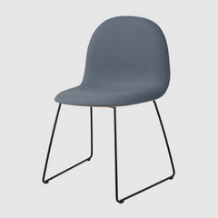 3D HiRek Sledge Base Dining Chair w/ Front Upholstery (Non-stackable) by Gubi
