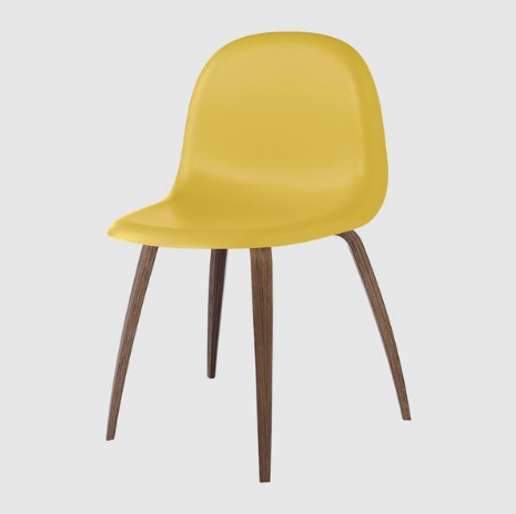 3D Dining Chair - Un-upholstered, Wood Base, HiRek Shell by Gubi