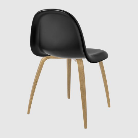 3D Dining Chair - Front Upholstered, Wood Base and Shell by Gubi