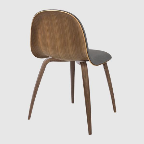 3D Dining Chair - Front Upholstered, Wood Base, HiRek Shell by Gubi