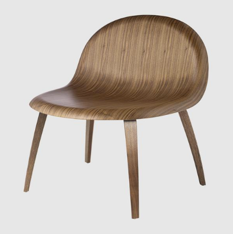 3D Lounge Chair W/ Wood Base Unupholstered By Gubi