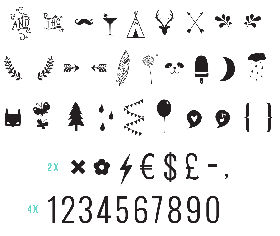 Numbers & Symbols Lightbox Symbol Set by A Little Lovely Company