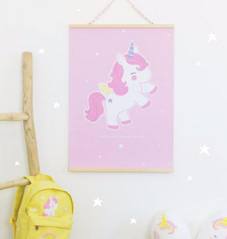 Baby Unicorn Poster by A Little Lovely Company