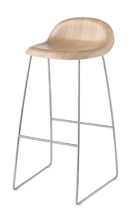 3D Bar Stool w/ Sledge Base Unupholstered by Gubi