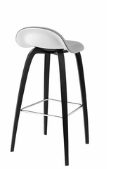 3D HiRek Counter Stool w/ Wood Base Front Upholstered (Types 1-3) by Gubi