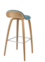 3D Wood Counter Stool w/ Front Upholstery by Gubi