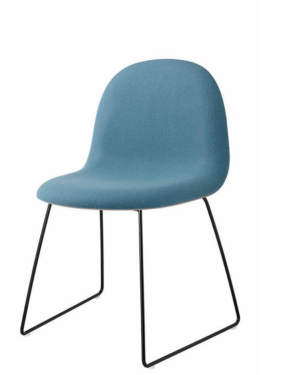 Gubi 12 (Front Upholstered) Wooden shell chair (Non-stackable) by Gubi