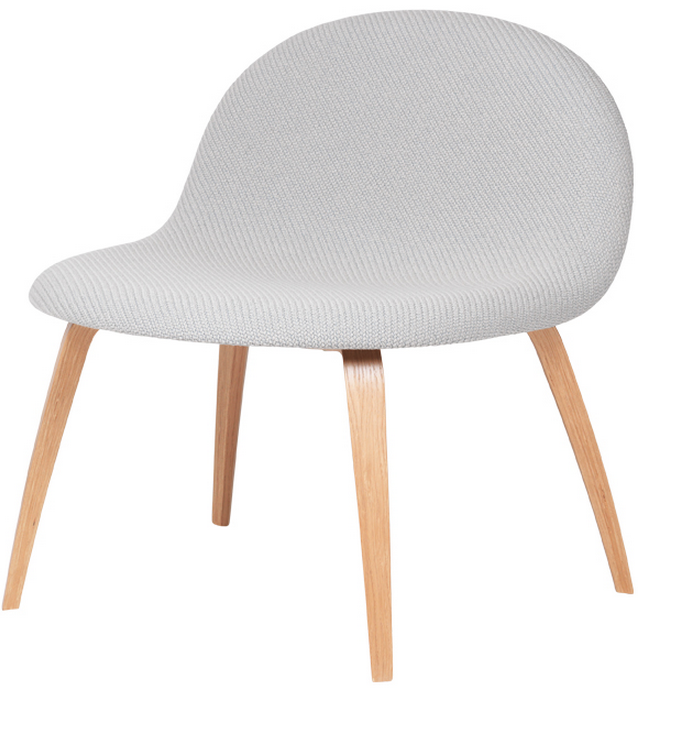 Gubi 42D (Front Upholstered) Wooden shell lounge by Gubi