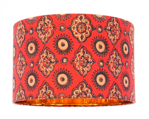 Ajrak Red Table/Floor Drum Shade by Mindthegap