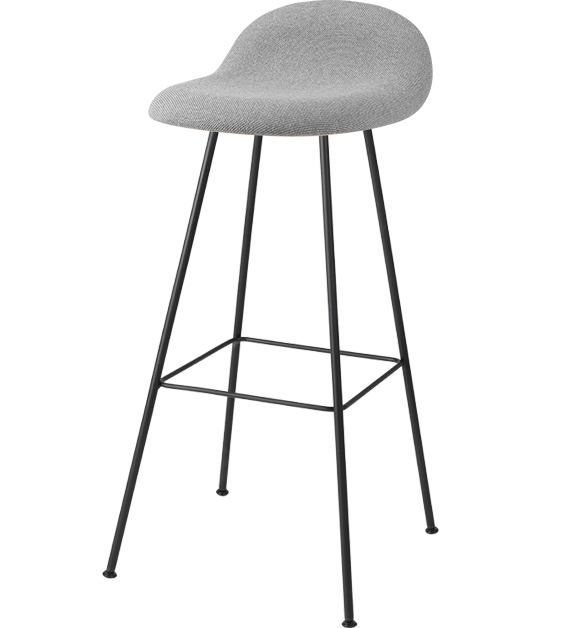 3D HiRek Counter Stool w/ Center Base Front Upholstered by Gubi