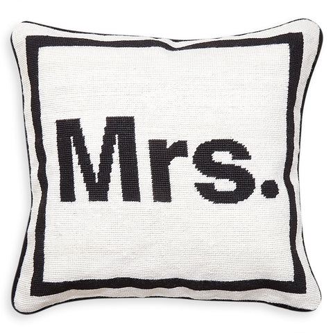 """Mrs."" Needlepoint Throw Pillow by Jonathan Adler"