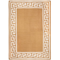 Camel Greek Key Border Reversible Peruvian Llama Flat Weave Rug by Jonathan Adler